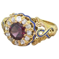 Victorian 1.19 Carat Garnet, Old Cut Diamond and Blue Enamel Cluster Ring