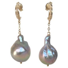 Baroque Gray Pearl Dangle Earrings with 14 Karat Yellow Gold Stud and Chain