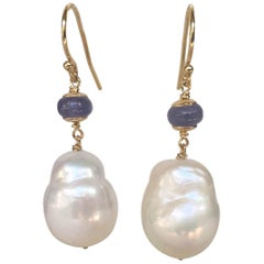 Baroque White Pearl and Tanzanite Earrings with 14 Karat Gold Hook and Wiring