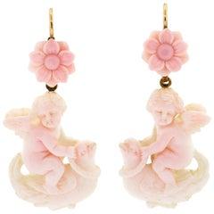 Victorian Carved Angel Skin Coral Cupid Ear Pendants