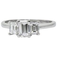 Vintage 1.40 Carat Diamond Platinum Emerald Cut Engagement Ring