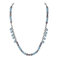 Blue & Gray Akoya Pearl Necklace w Sterling Silver Chain, Diamond Beads & Clasp