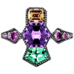 Joke Quick 18K White gold Cognac Diamond, Tourmaline & Amethyst Millegrain ring