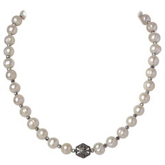 White Ringed Akoya Pearl Necklace w Hematite Beads & Diamond & Sterling Clasp