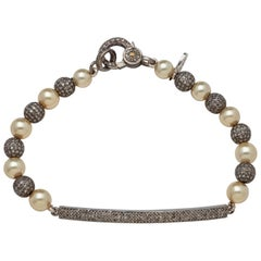 Diamond Bar & Bead Sterling Silver Bracelet with Fine Akoya Pearls