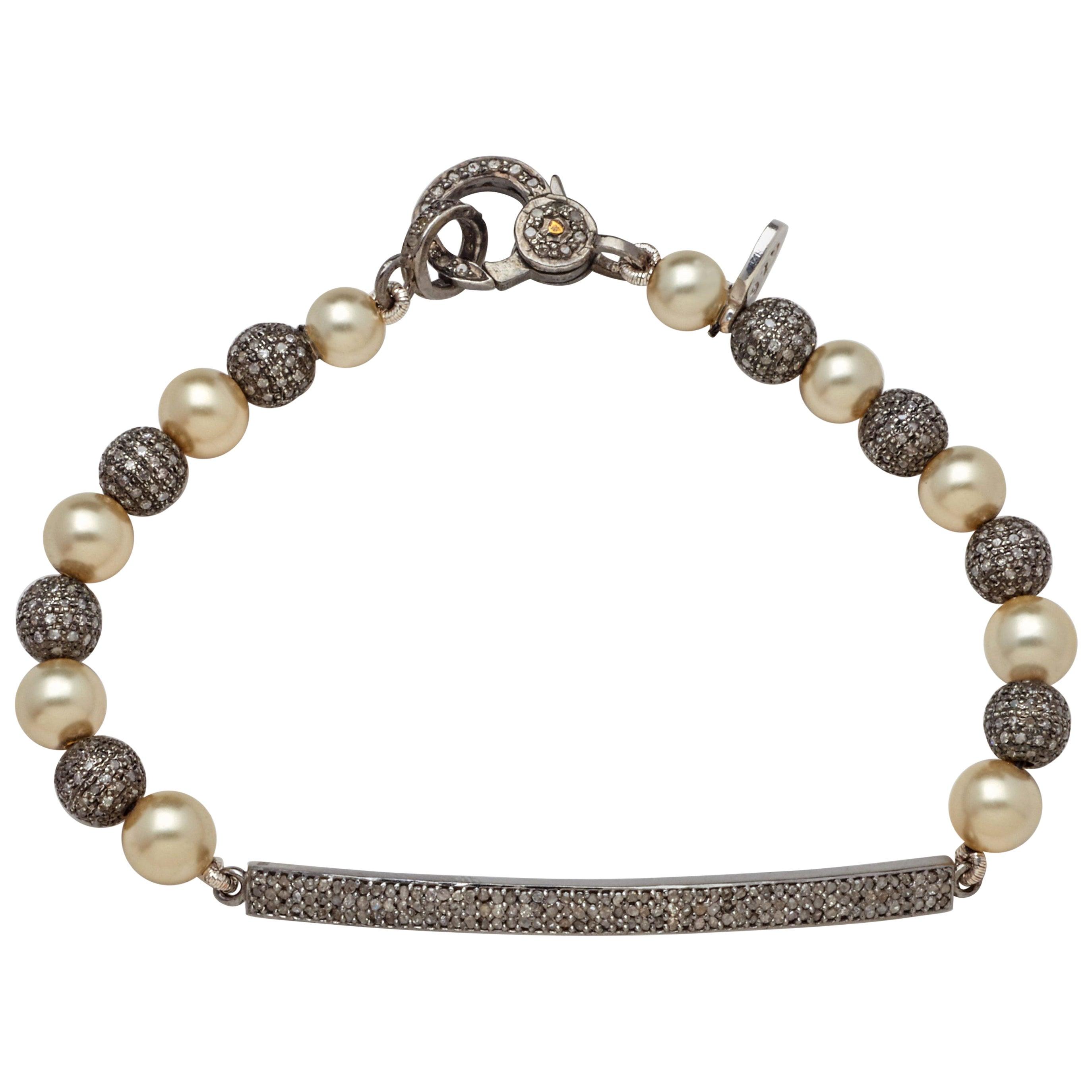 Diamond Bar and Sterling Silver Diamond Bead Bracelet with Fine Akoya Pearls