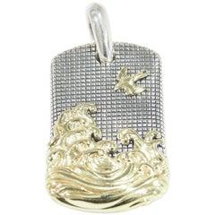 Davig Yurman Tag Pendant 18 Karat Yellow Gold Sterling Silver