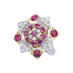 French Flower Star Diamond Ruby Gold Platinum Ring