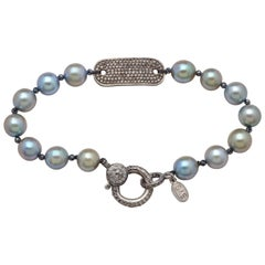 Diamond & Oxidized Sterling Silver Placket Bracelet with Blue-Gray Akoya Pearls