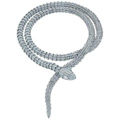 Serpenti Necklace in White Gold with Pave Diamonds by Bulgari