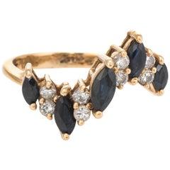 Vintage Sapphire Diamond Ring 1970s Undulating Design Estate Fine Jewelry