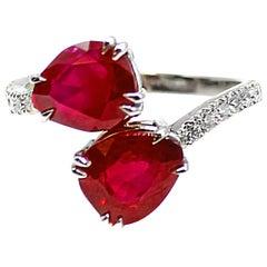 "Burma Pigeon Blood Red Ruby Diamond ""Toi et Moi"" Ring"