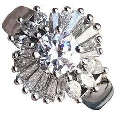2 Carat Tw Approximate Ballerina Ring 18 Karat White, Ben Dannie Design