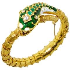18 Karat Snake Bangle Bracelet