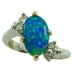 G.Minner Unique Opal Diamonds Gold Ring