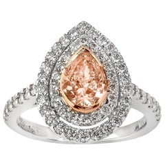 18 Carat White Gold Natural Peach Colored Pear Shaped Diamond Cluster Ring