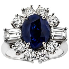 18 Carat White Gold Oval Australian Sapphire and Diamond Cluster Ring