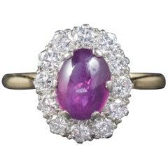 Antique Victorian Cabochon Star Ruby Diamond Ring, circa 1900