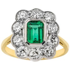 Platinum and 18 Carat Gold Emerald and Old Cut Diamond Scalloped Cluster Ring