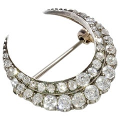 Antique Old Cut Diamond Crescent Shaped Brooch in Silver and 18 Carat White Gold
