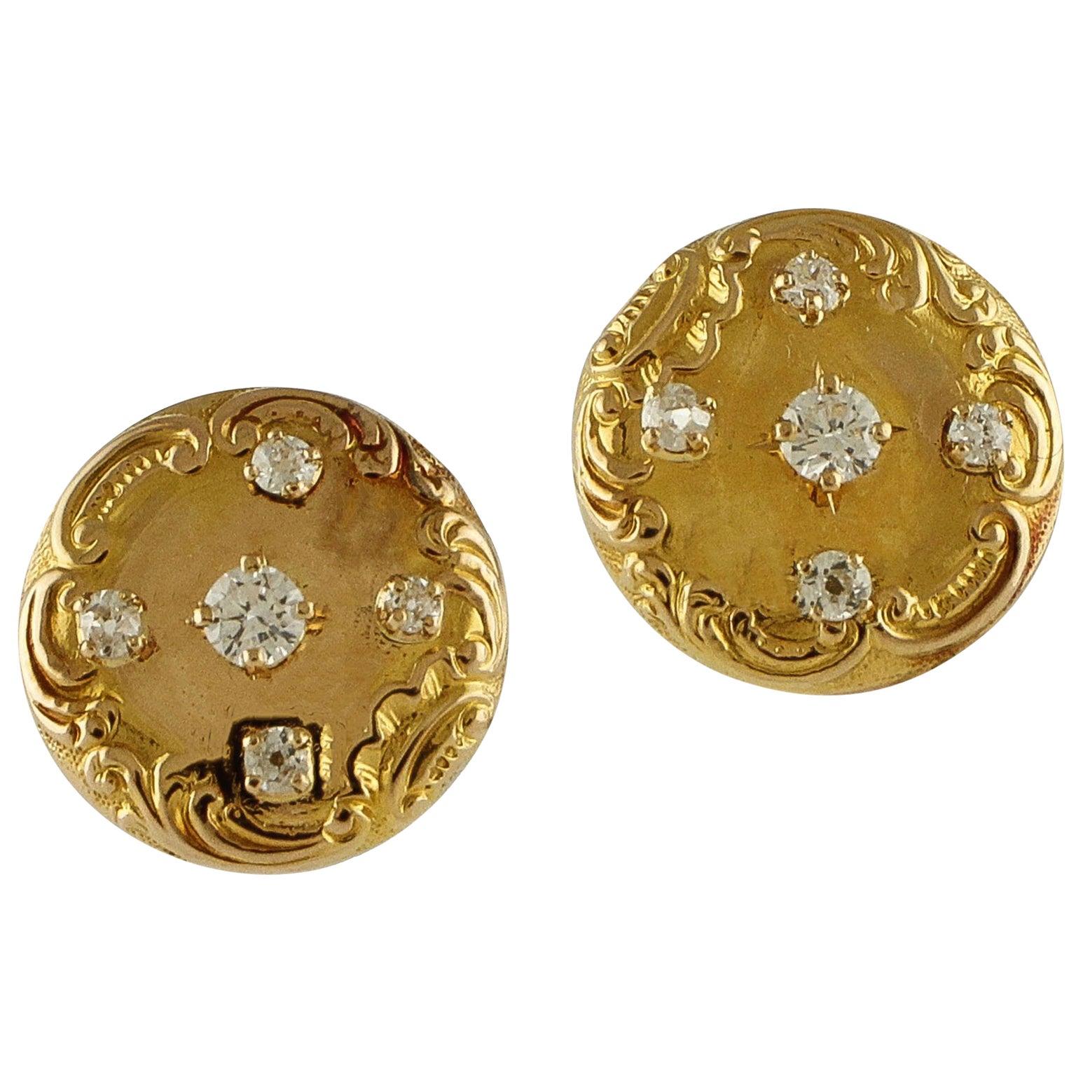 White Diamonds Engraved Rose Gold Clip-On Earrings