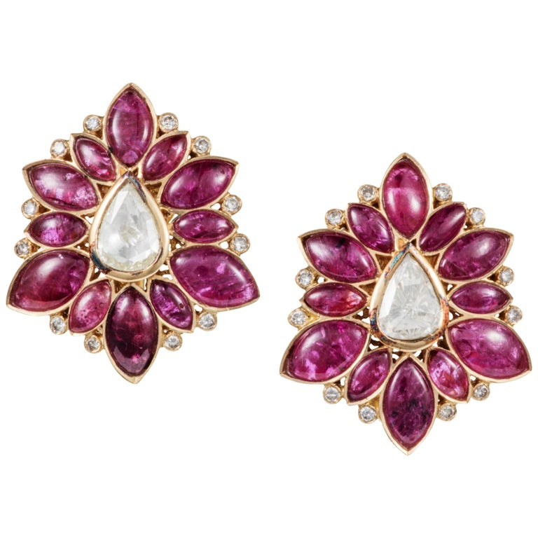 Manpriya B Marquise Ruby & Rose-Cut Diamond 18k Gold Fleurs De L'Inde Earrings 1