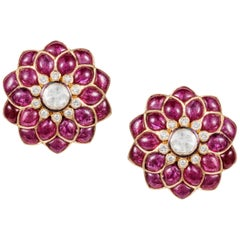 Ruby Cabochon and Rose-Cut Diamond 18 Karat Gold Earrings by Manpriya B