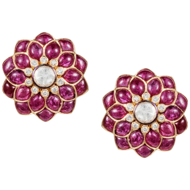 Manpriya B Ruby Cabochon & Rose-Cut Diamond 18k Gold Fleurs de L'Inde  Earrings For Sale