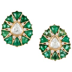 Fancy-cut Emerald and Rose-Cut Diamond Earrings by Manpriya B