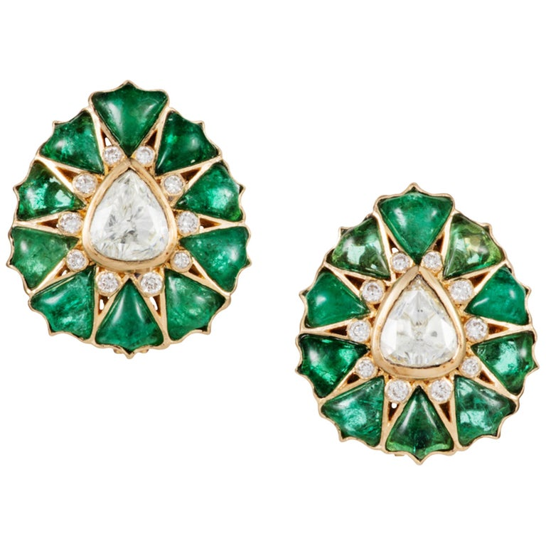 Manpriya B Fancy-cut Emerald and Rose-Cut Diamond Fleurs De L'Inde Earrings  For Sale