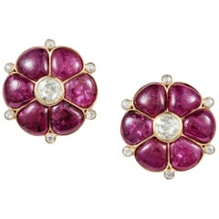 Ruby & Rose Cut Diamond 18 Karat Gold Classic Earrings by Manpriya B