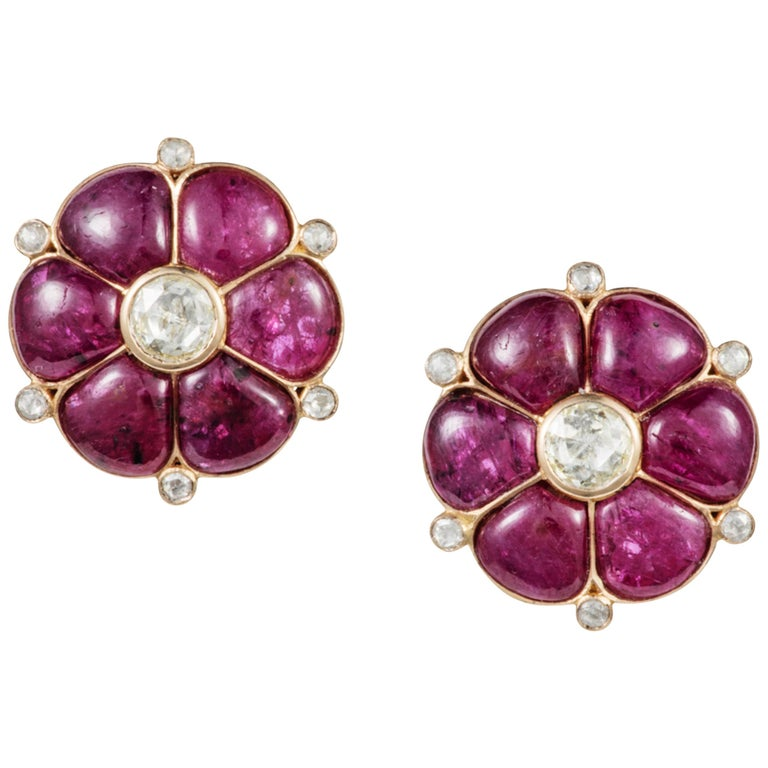 Ruby & Rose Cut Diamond 18 Karat Gold Classic Earrings by Manpriya B  1