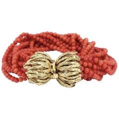 1970s 14 Karat Coral Multi-Strand Bracelet
