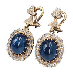 Pair of 18 Karat Sapphire and Diamond Earrings