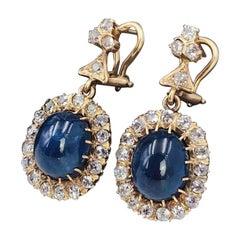 Paar von 18 Karat Saphir und Diamant-Ohrringen