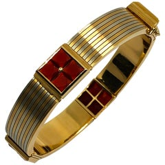 1970 Bulgari Roma Carnelian Yellow White Gold Bracelet