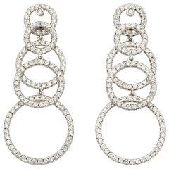 Round Hoops 3.05 Carat Diamond 18 Karat White Gold Drop Earrings