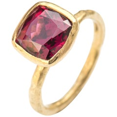 Cushion Cut Garnet 18 Karat Gold Textured Cocktail Ring