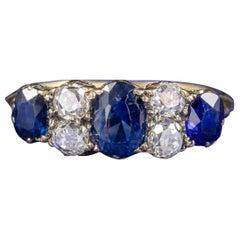 Antique Victorian Sapphire Diamond Five-Stone Ring 18 Carat Gold, circa 1900