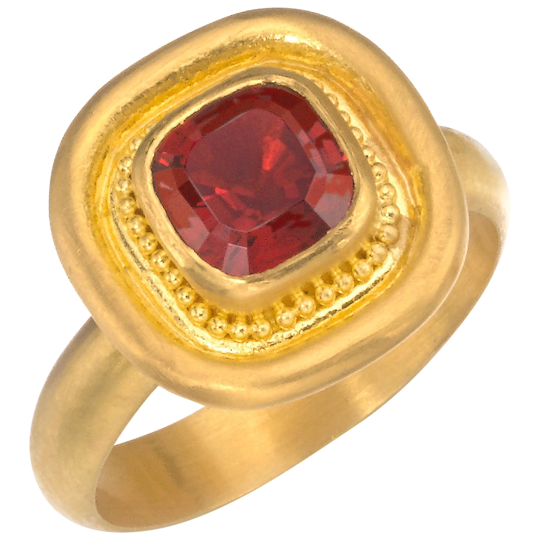 Garnet Ring in 22 Karat Gold
