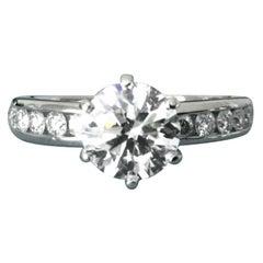 Tiffany & Co. Platinum Diamond 1.30 Carat Round Engagement Ring H VVS2