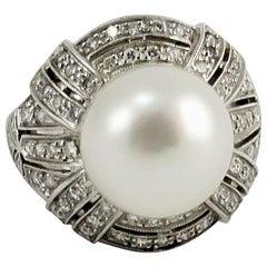 Dirce Repossi Australian White South Sea Pearl and Diamond White Gold Ring