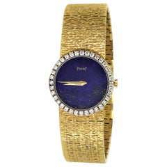 Ladies Piaget Watch with Lapis Dial and Diamond Bezel