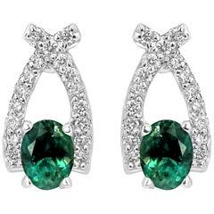 Alexandrite Oval White Diamond Round Gold Fashion Earring