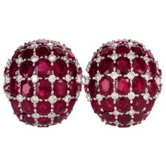 1960s Ruby Diamond Cluster Dome Huggie Clip-On Earrings