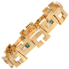 1980s JROCA High Polish Emerald Diamond 18 Karat Gold Unisex Bracelet