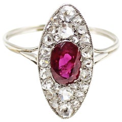 Edwardian Ruby Diamond Platinum Navette Ring
