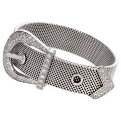 Diamond Belt Buckle 18 Karat White Gold Bracelet