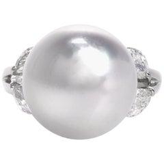 Estate South Sea Pearl Diamond Platinum Ring