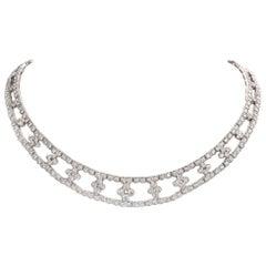 Flower Diamond Collar Choker 18 Karat Gold Necklace